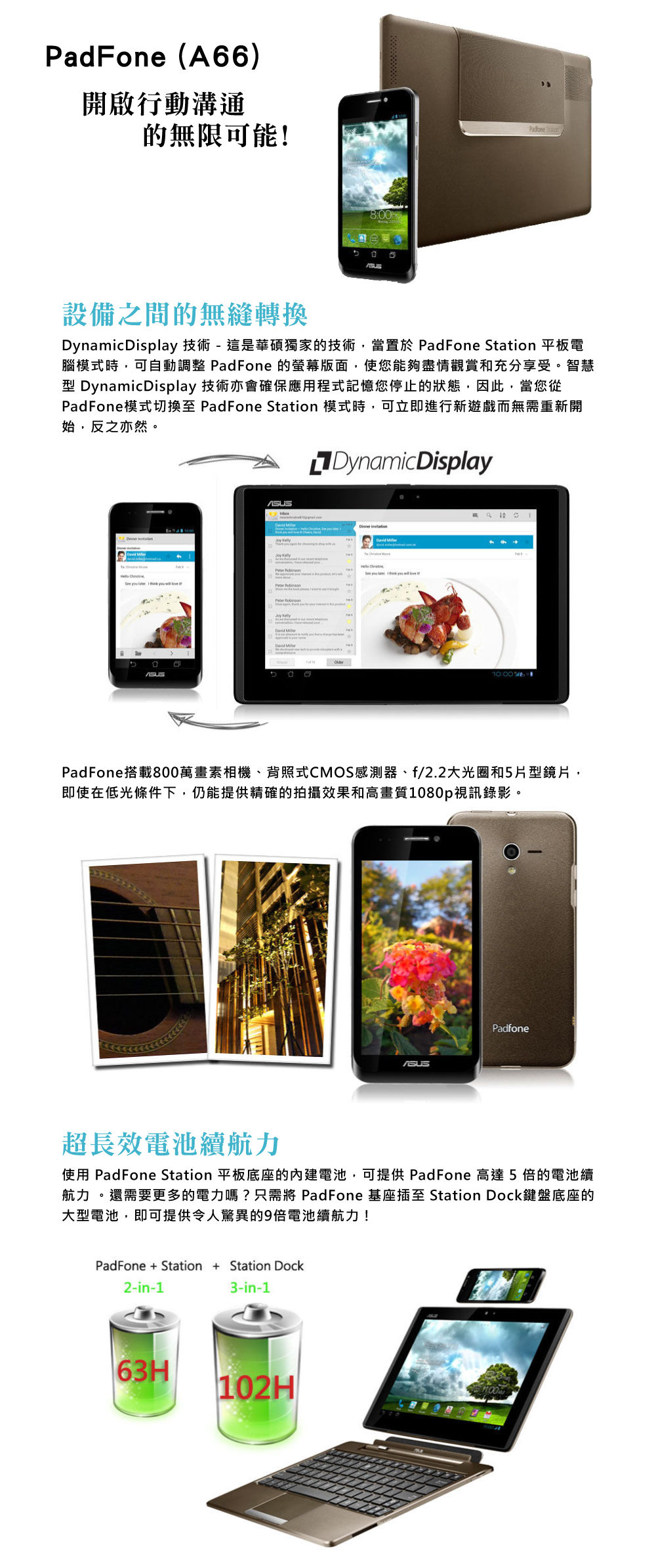 ASUS華碩 PadFone A66 (1G/32G) 智慧手機 華碩 ASUS PadFone A66 32G 變形平板 手機